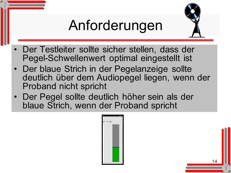 14 Anforderungen Der Testleiter sollte sicher stellen, dass der Pegel-Schwellenwert optimal eingestellt ist Der blaue Strich in der Pegelanzeige sollte deutlich über dem Audiopegel liegen, wenn der Proband nicht spricht Der Pegel sollte deutlich höher sein als der blaue Strich, wenn der Proband spricht