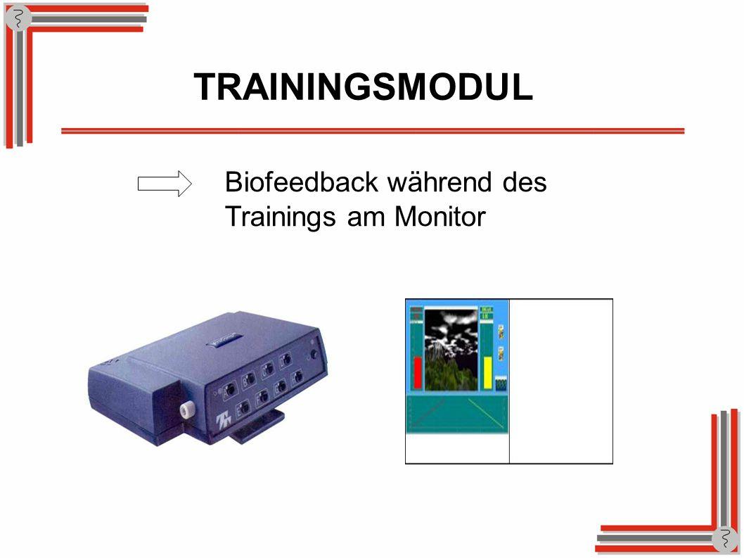 Biofeedback während des Trainings am Monitor TRAININGSMODUL