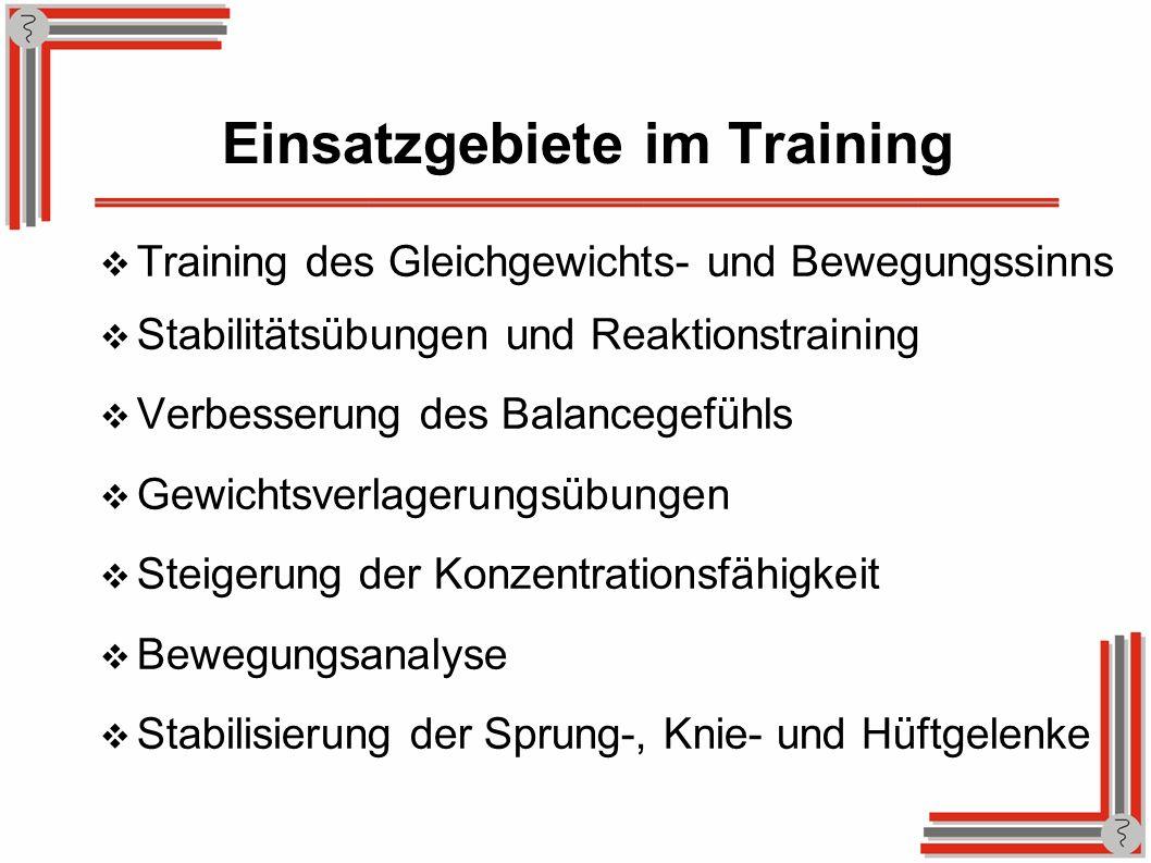 Einsatzgebiete im Training Training des Gleichgewichts- und Bewegungssinns Stabilitätsübungen und Reaktionstraining Verbesserung des Balancegefühls Ge