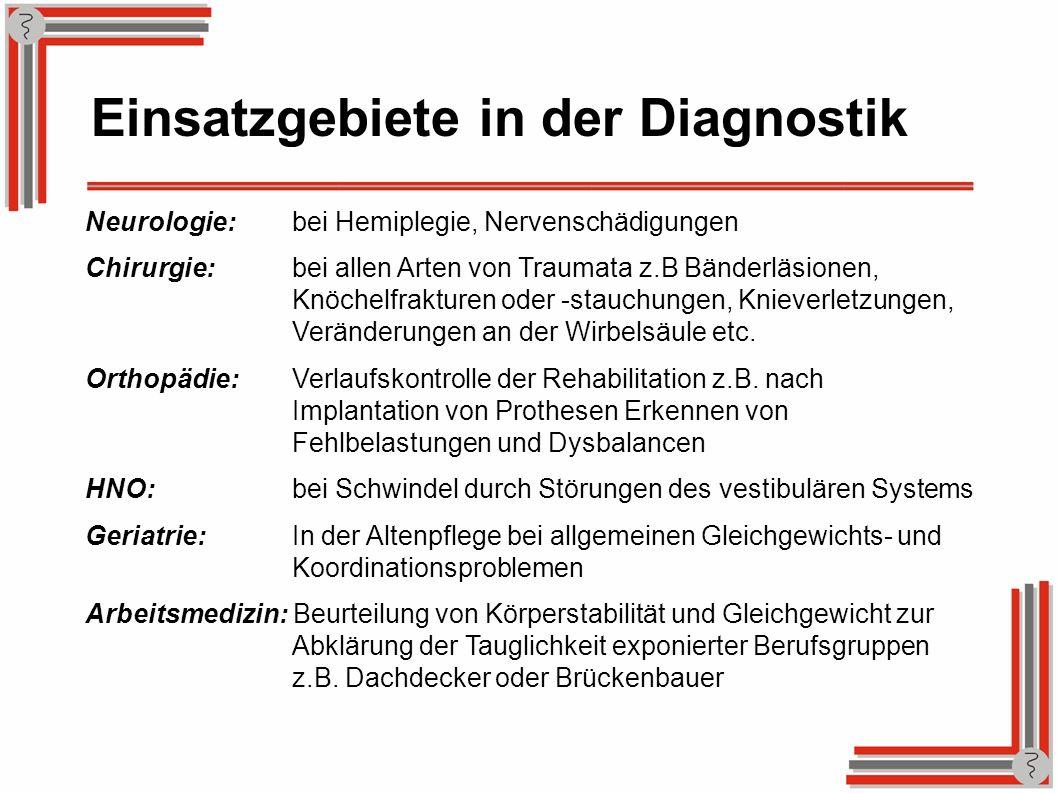 Einsatzgebiete in der Diagnostik Neurologie:bei Hemiplegie, Nervenschädigungen Chirurgie:bei allen Arten von Traumata z.B Bänderläsionen, Knöchelfrakt