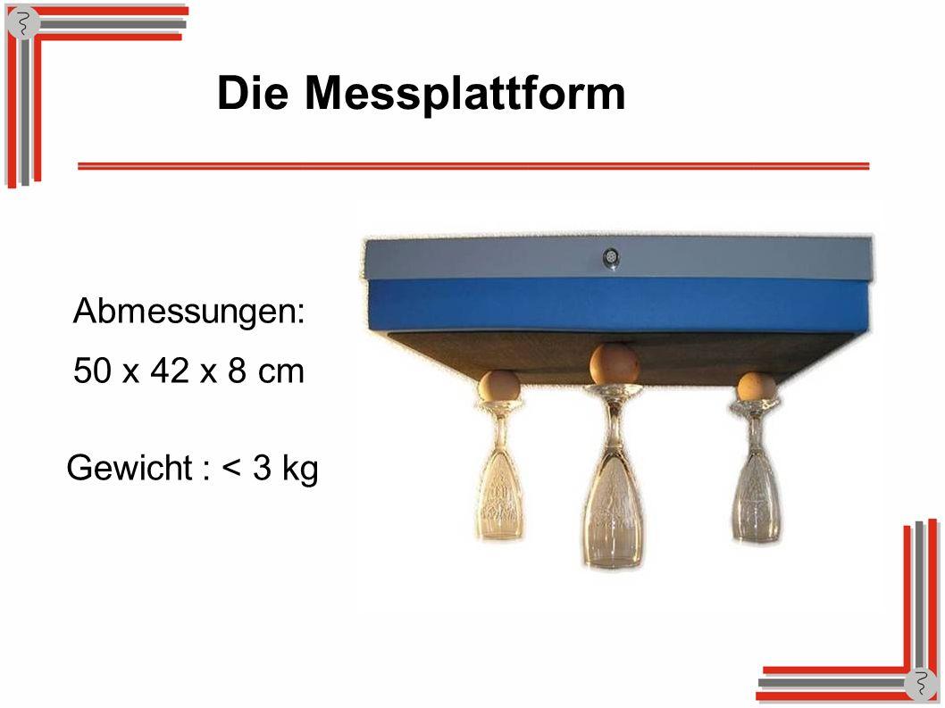 Die Messplattform Abmessungen: 50 x 42 x 8 cm Gewicht: < 3 kg
