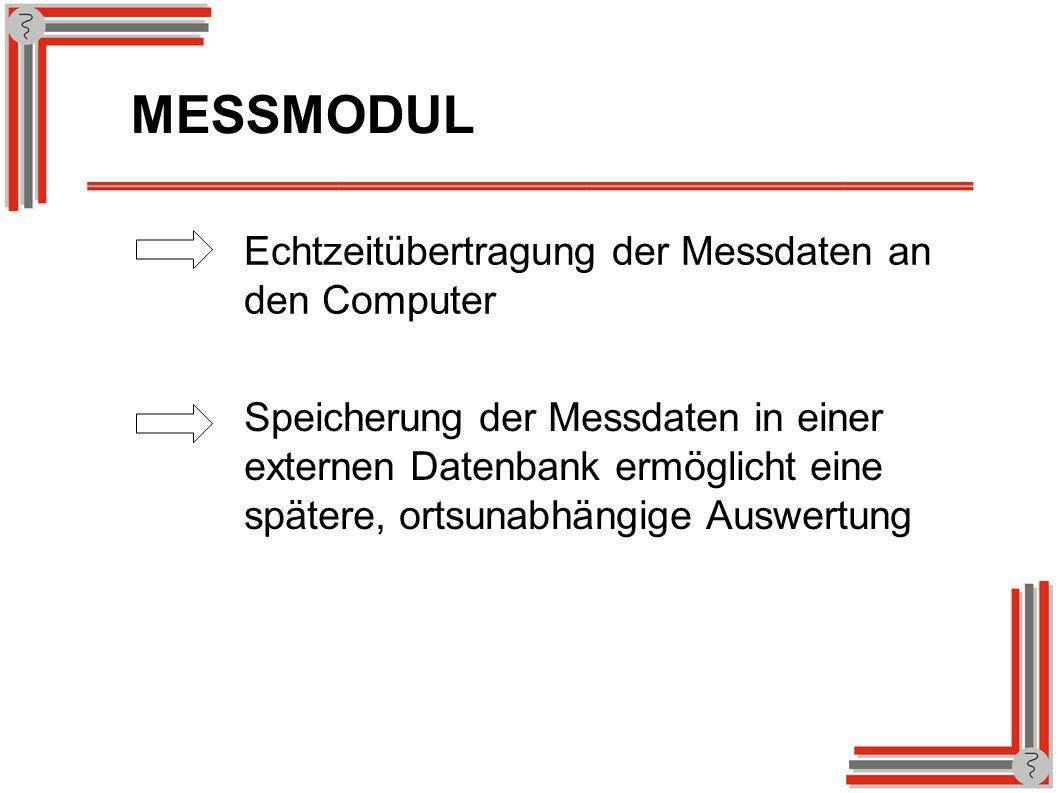 Echtzeitübertragung der Messdaten an den Computer MESSMODUL Speicherung der Messdaten in einer externen Datenbank ermöglicht eine spätere, ortsunabhän