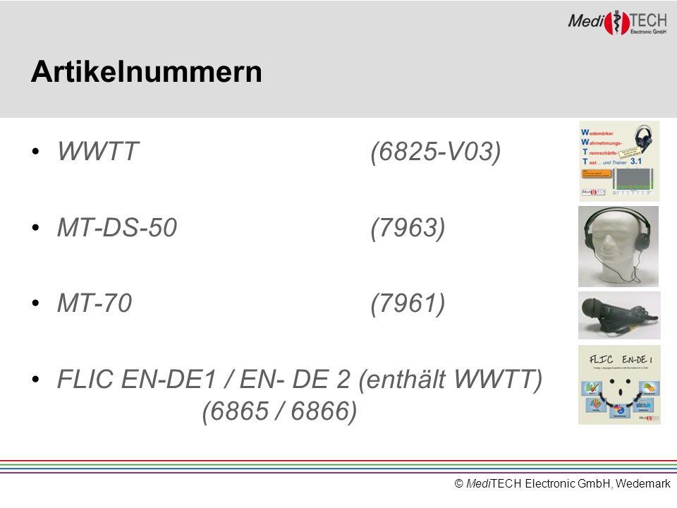 © MediTECH Electronic GmbH, Wedemark Artikelnummern WWTT(6825-V03) MT-DS-50(7963) MT-70(7961) FLIC EN-DE1 / EN- DE 2 (enthält WWTT) (6865 / 6866)