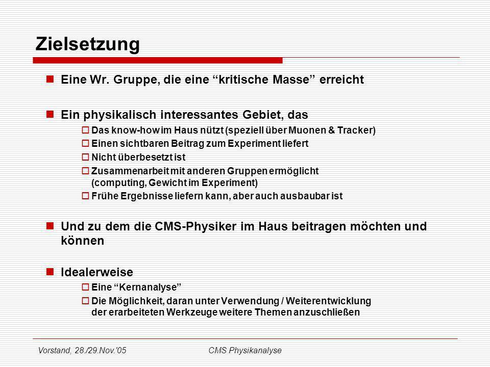 Vorstand, 28./29.Nov. 05CMS Physikanalyse Zielsetzung Eine Wr.