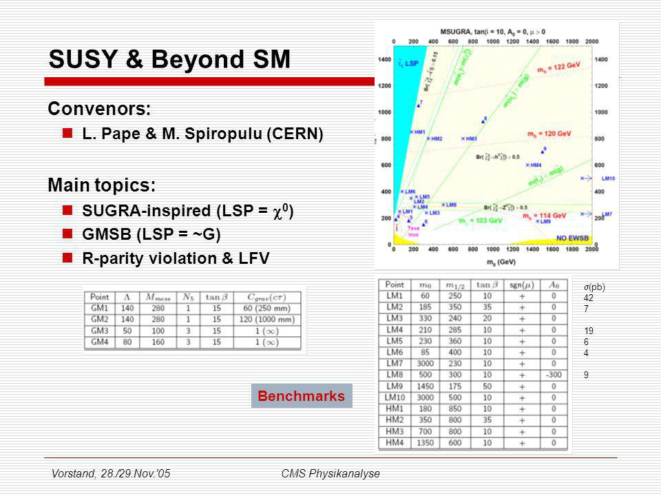 Vorstand, 28./29.Nov.'05CMS Physikanalyse SUSY & Beyond SM Convenors: L. Pape & M. Spiropulu (CERN) Main topics: SUGRA-inspired (LSP = 0 ) GMSB (LSP =