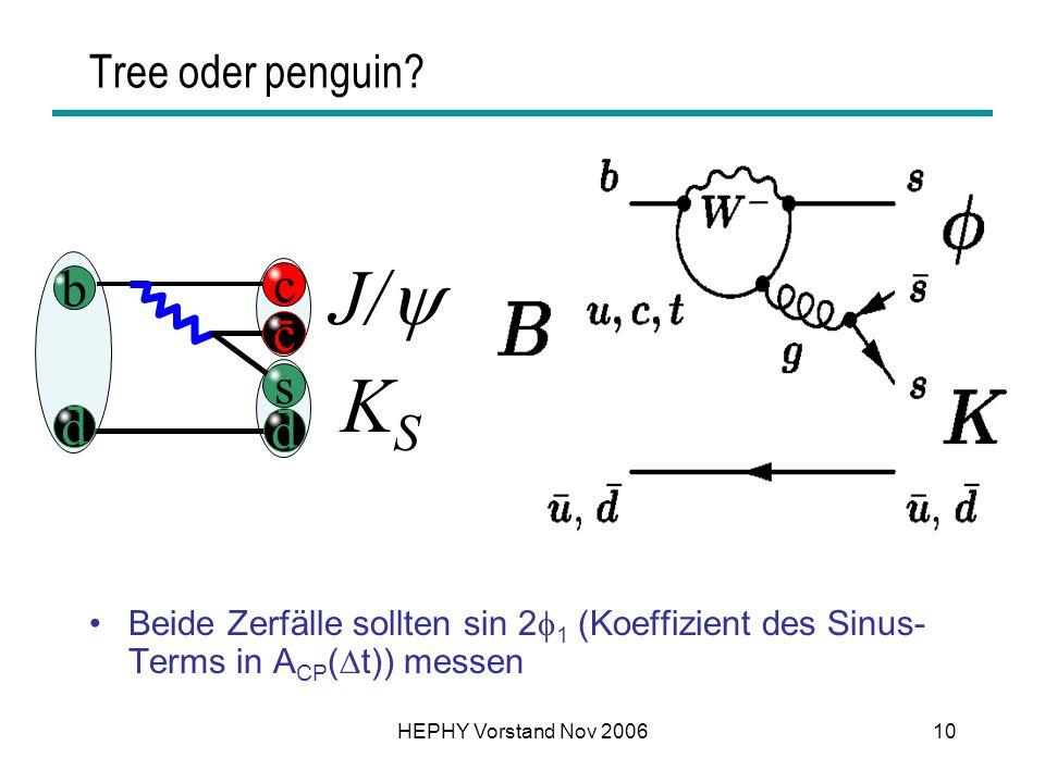 HEPHY Vorstand Nov 200610 Tree oder penguin? b c d c s d J/ KSKS Beide Zerfälle sollten sin 2 1 (Koeffizient des Sinus- Terms in A CP ( t)) messen