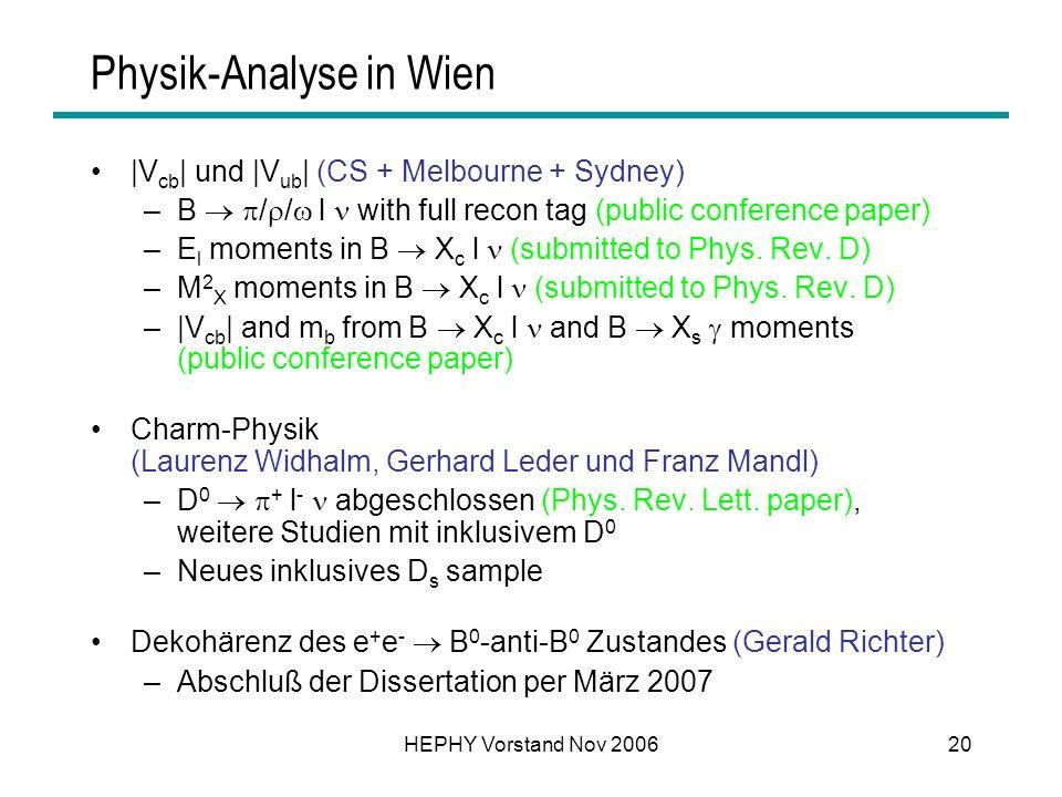 HEPHY Vorstand Nov 200620 Physik-Analyse in Wien |V cb | und |V ub | (CS + Melbourne + Sydney) –B / / l with full recon tag (public conference paper)