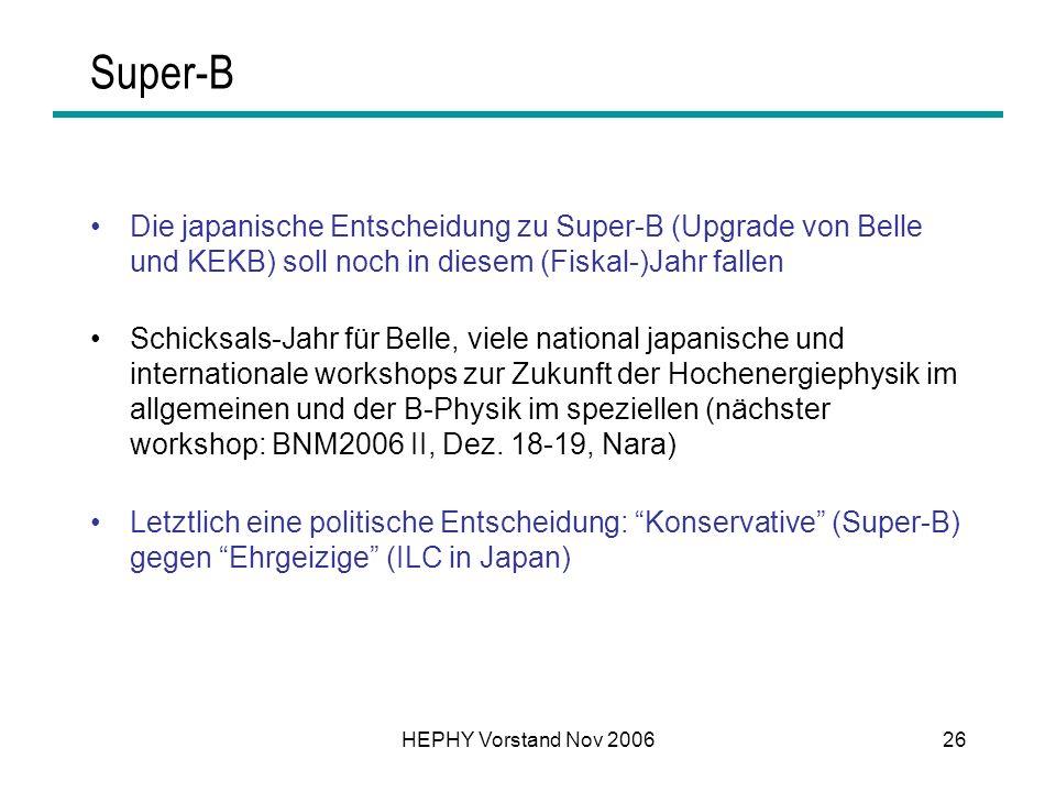 HEPHY Vorstand Nov 200626 Super-B Die japanische Entscheidung zu Super-B (Upgrade von Belle und KEKB) soll noch in diesem (Fiskal-)Jahr fallen Schicks