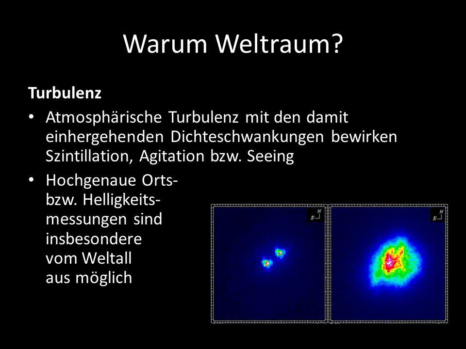 Warum Weltraum? Turbulenz Atmosphärische Turbulenz mit den damit einhergehenden Dichteschwankungen bewirken Szintillation, Agitation bzw. Seeing Hochg