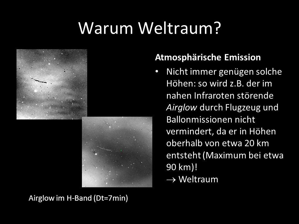 Warum Weltraum? Atmosphärische Emission Nicht immer genügen solche Höhen: so wird z.B. der im nahen Infraroten störende Airglow durch Flugzeug und Bal