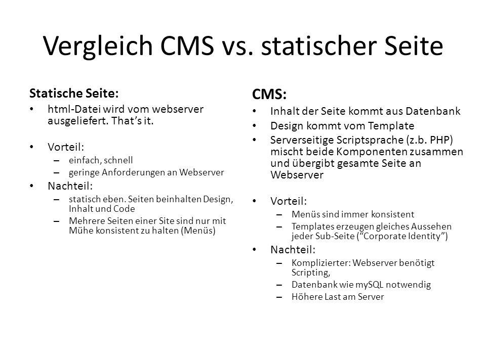 Vergleich CMS vs. statischer Seite Statische Seite: html-Datei wird vom webserver ausgeliefert. Thats it. Vorteil: – einfach, schnell – geringe Anford