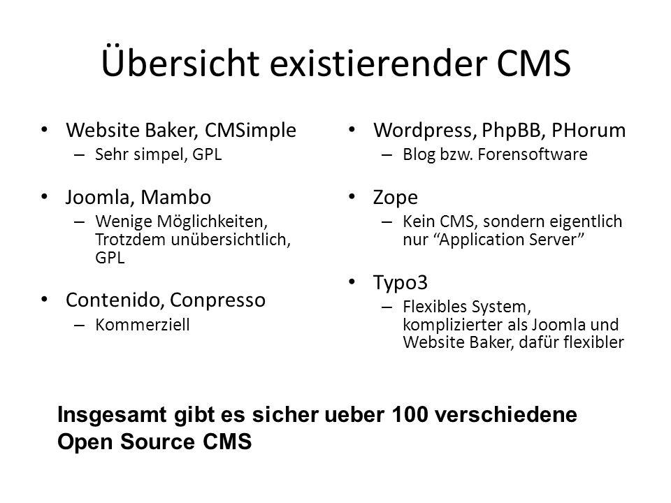 Übersicht existierender CMS Website Baker, CMSimple – Sehr simpel, GPL Joomla, Mambo – Wenige Möglichkeiten, Trotzdem unübersichtlich, GPL Contenido, Conpresso – Kommerziell Wordpress, PhpBB, PHorum – Blog bzw.