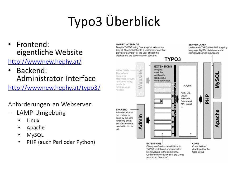 Typo3 Überblick Frontend: eigentliche Website http://wwwnew.hephy.at/ Backend: Administrator-Interface http://wwwnew.hephy.at/typo3/ Anforderungen an