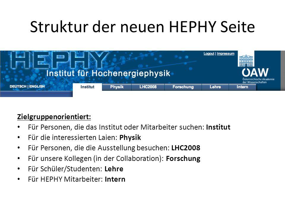Struktur der neuen HEPHY Seite Zielgruppenorientiert: Für Personen, die das Institut oder Mitarbeiter suchen: Institut Für die interessierten Laien: P