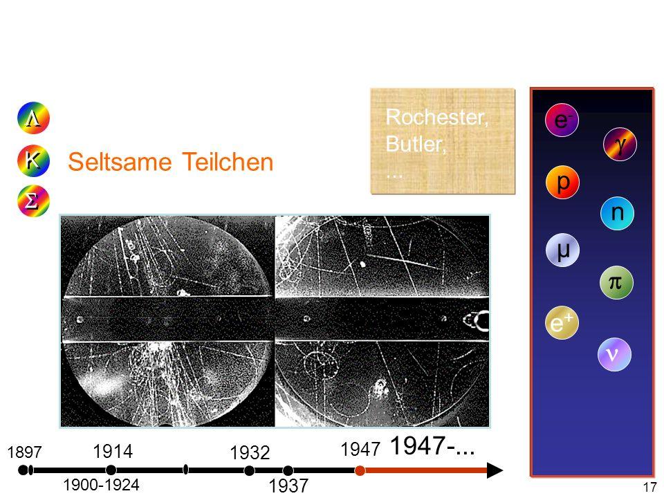 17 1897 Seltsame Teilchen e-e- 1900-1924 1914 K K p 1932 n 1937 µ 1947 e+e+ Rochester, Butler,... 1947-...