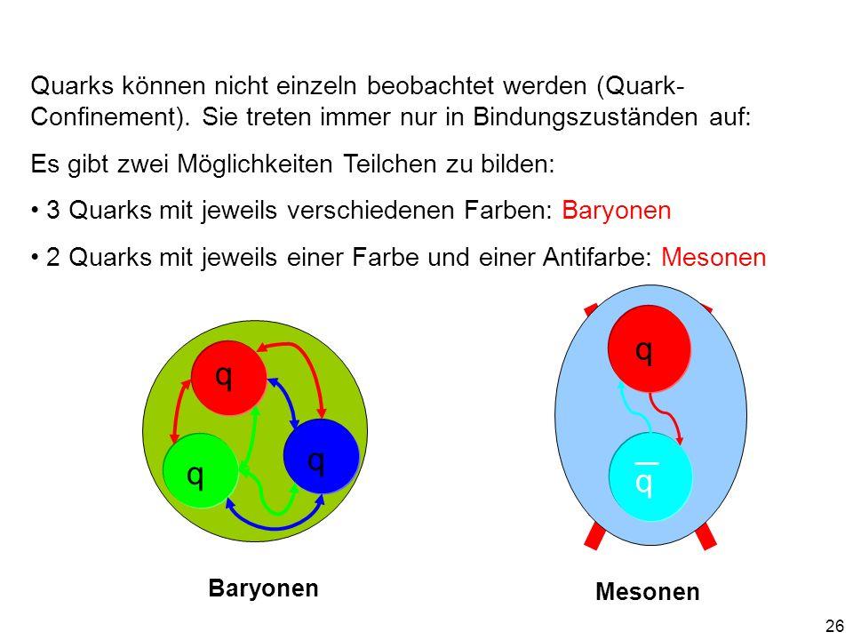 26 Quarks können nicht einzeln beobachtet werden (Quark- Confinement). Sie treten immer nur in Bindungszuständen auf: Es gibt zwei Möglichkeiten Teilc