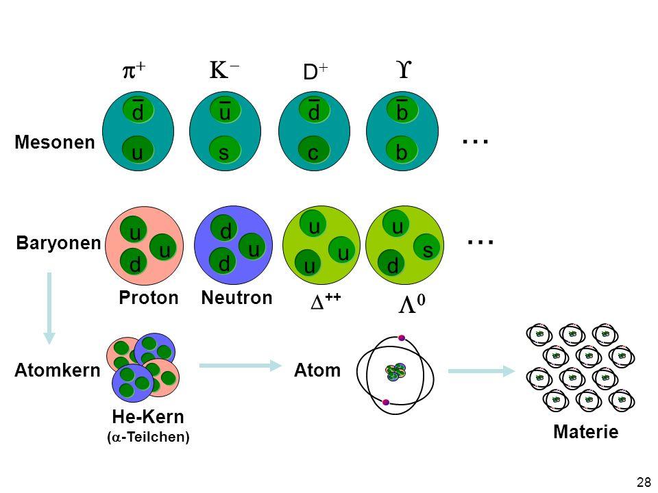 28 ++ u u u u d d u s c d D s u b b d u u d u d ProtonNeutron Mesonen Baryonen... Atomkern He-Kern ( -Teilchen) Atom Materie