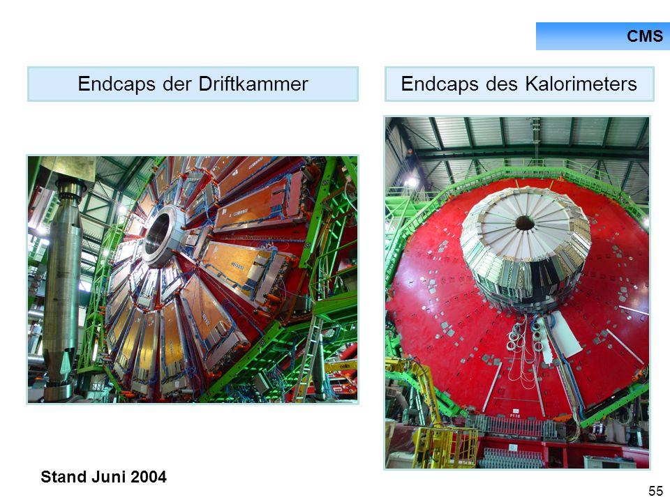 55 CMS Endcaps des KalorimetersEndcaps der Driftkammer Stand Juni 2004