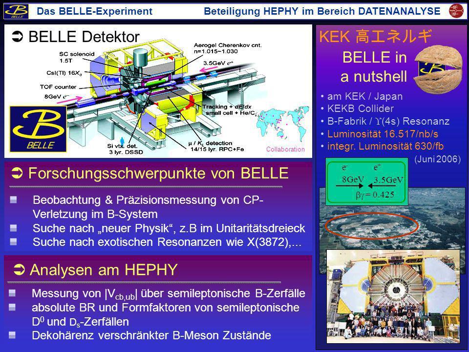 Beobachtung & Präzisionsmessung von CP- Verletzung im B-System Suche nach neuer Physik, z.B im Unitaritätsdreieck Suche nach exotischen Resonanzen wie
