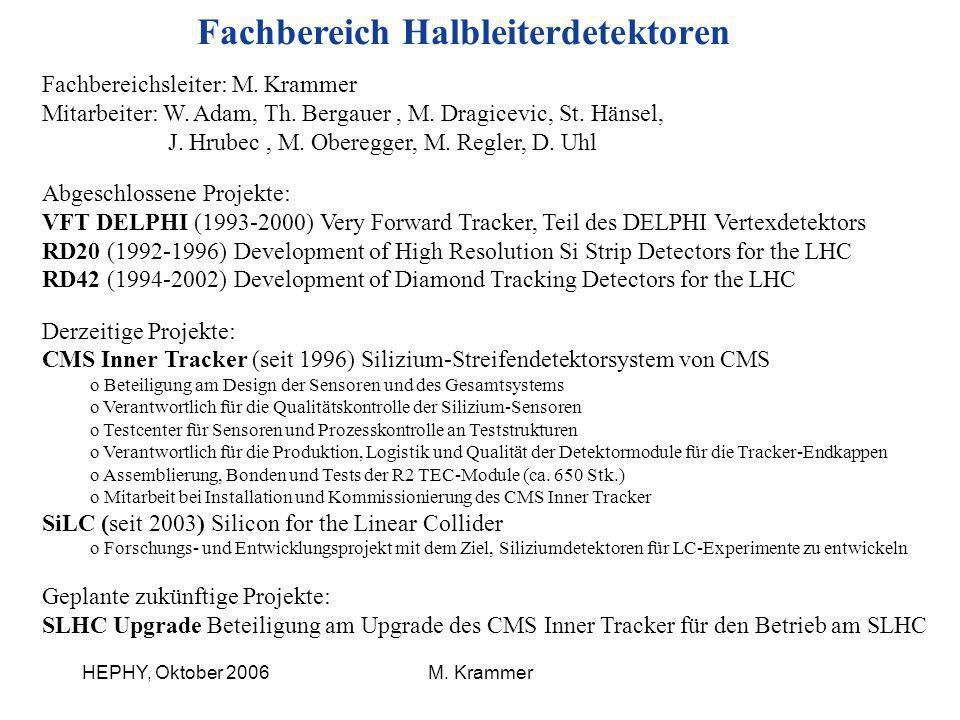 HEPHY, Oktober 2006M. Krammer Fachbereich Halbleiterdetektoren Fachbereichsleiter: M. Krammer Mitarbeiter: W. Adam, Th. Bergauer, M. Dragicevic, St. H