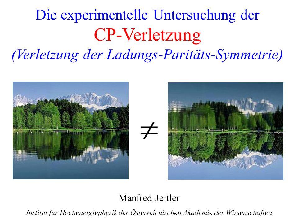 1 Die experimentelle Untersuchung der CP-Verletzung (Verletzung der Ladungs-Paritäts-Symmetrie) Manfred Jeitler Institut für Hochenergiephysik der Öst