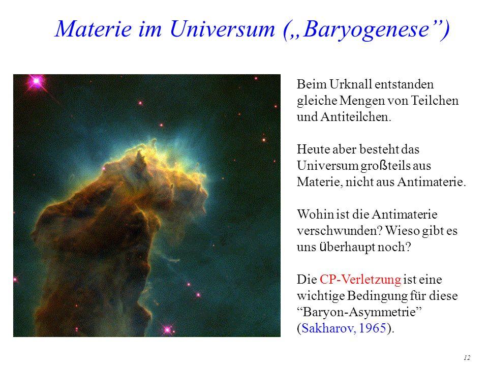 12 Materie im Universum (Baryogenese) Beim Urknall entstanden gleiche Mengen von Teilchen und Antiteilchen. Heute aber besteht das Universum gro ß tei