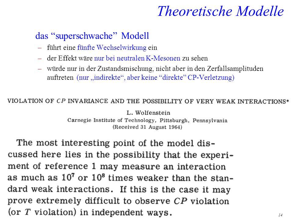 14 Theoretische Modelle das superschwache Modell –führt eine fünfte Wechselwirkung ein –der Effekt wäre nur bei neutralen K-Mesonen zu sehen –würde nu
