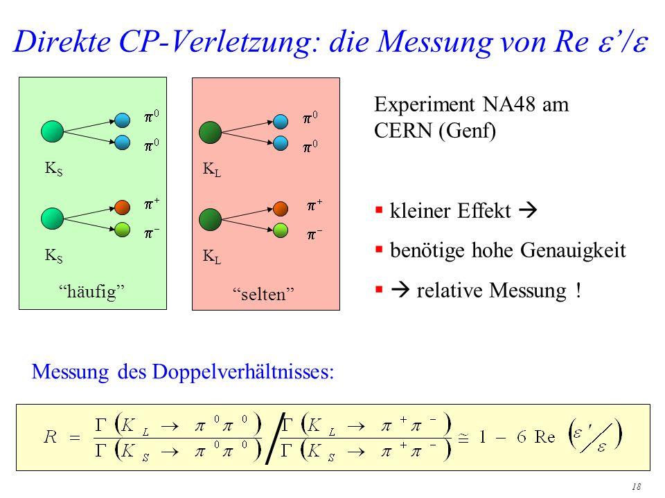 18 Direkte CP-Verletzung: die Messung von Re / Experiment NA48 am CERN (Genf) kleiner Effekt benötige hohe Genauigkeit relative Messung ! KSKS KSKS hä