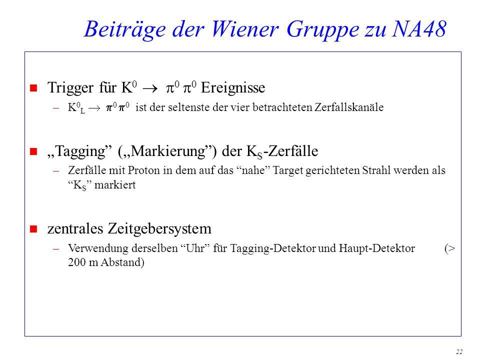 22 Beiträge der Wiener Gruppe zu NA48 Trigger für K 0 0 0 Ereignisse –K 0 L 0 0 ist der seltenste der vier betrachteten Zerfallskanäle n Tagging (Mark