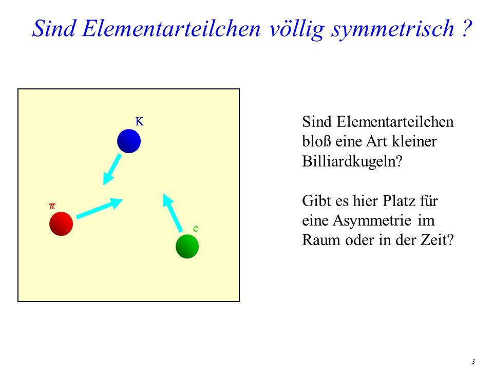 3 Sind Elementarteilchen völlig symmetrisch ? e Sind Elementarteilchen bloß eine Art kleiner Billiardkugeln? Gibt es hier Platz für eine Asymmetrie im