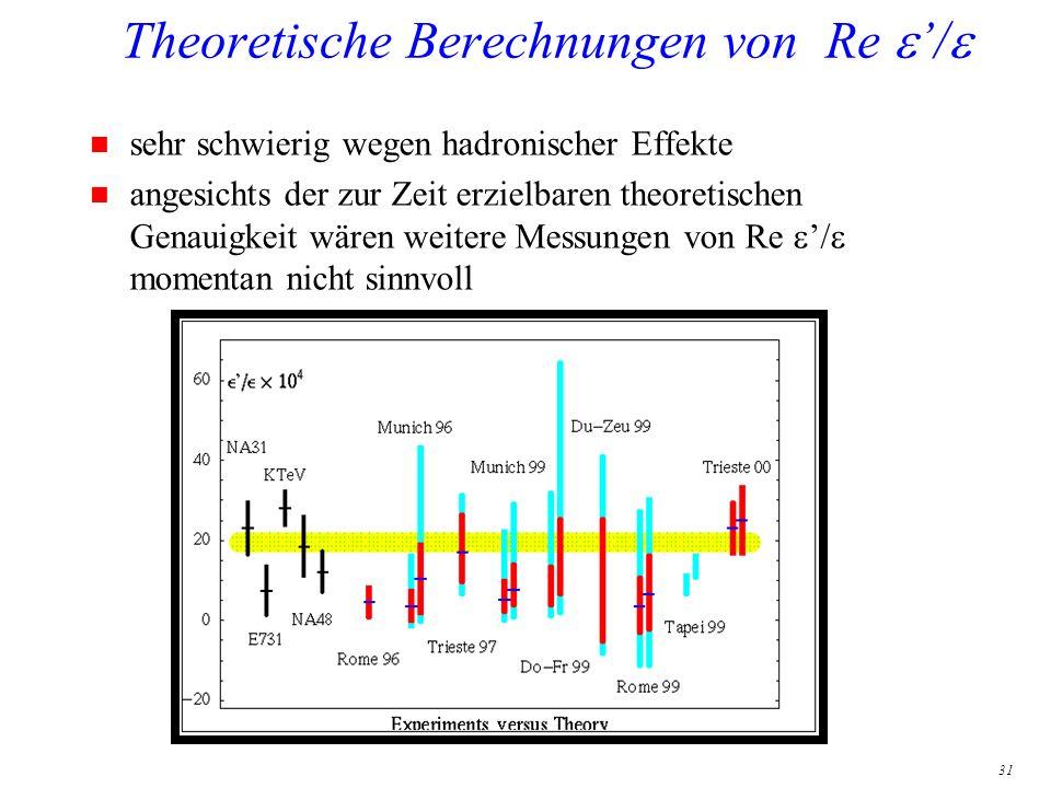 31 Theoretische Berechnungen von Re / n sehr schwierig wegen hadronischer Effekte angesichts der zur Zeit erzielbaren theoretischen Genauigkeit wären