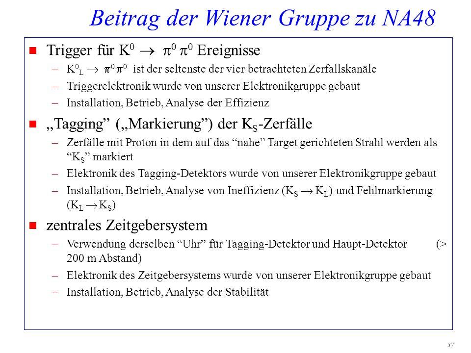 37 Beitrag der Wiener Gruppe zu NA48 Trigger für K 0 0 0 Ereignisse –K 0 L 0 0 ist der seltenste der vier betrachteten Zerfallskanäle –Triggerelektron