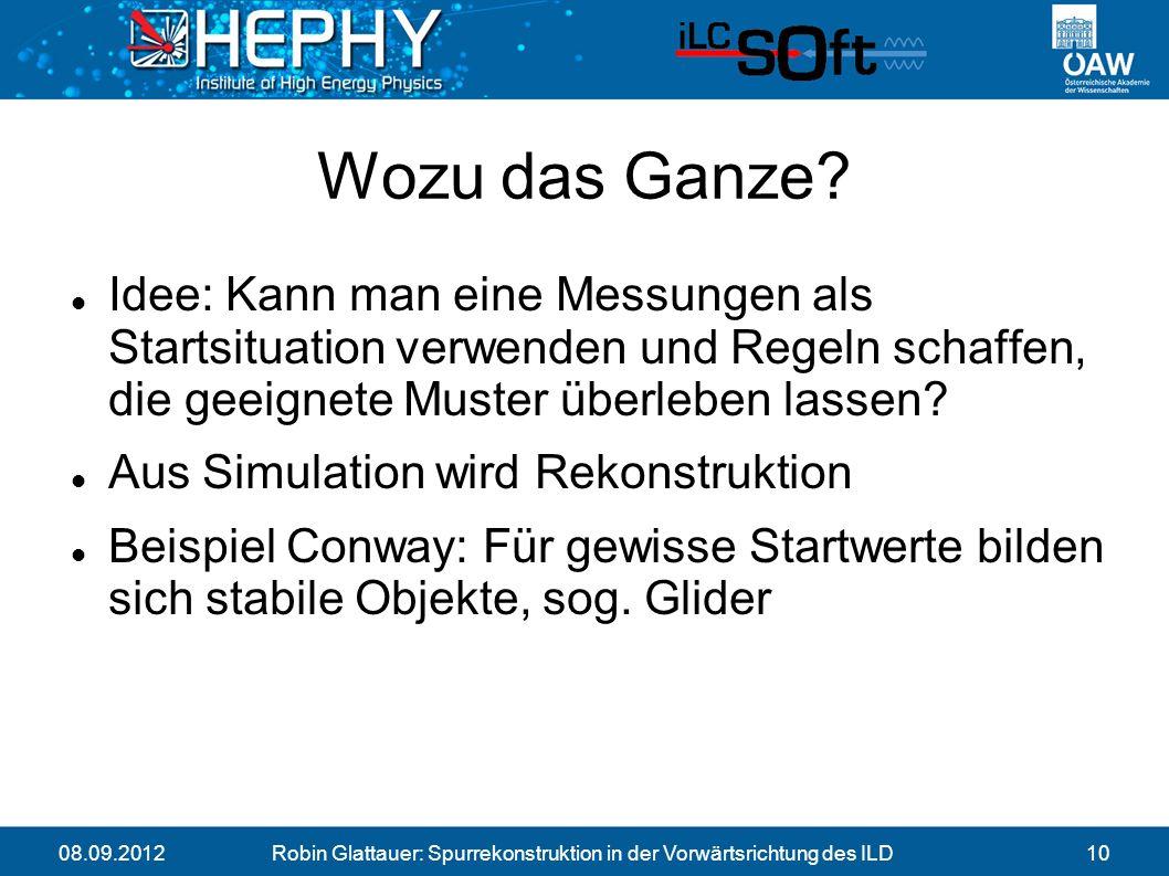 08.09.2012Robin Glattauer: Spurrekonstruktion in der Vorwärtsrichtung des ILD10 Wozu das Ganze.
