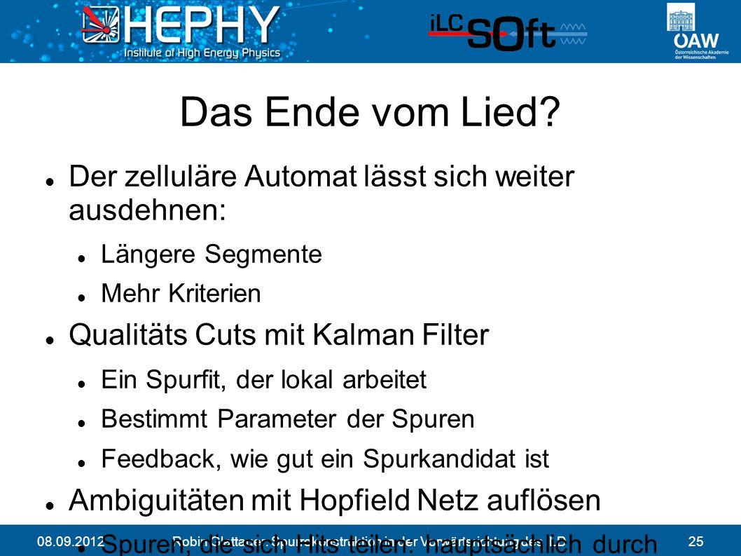 08.09.2012Robin Glattauer: Spurrekonstruktion in der Vorwärtsrichtung des ILD25 Das Ende vom Lied.
