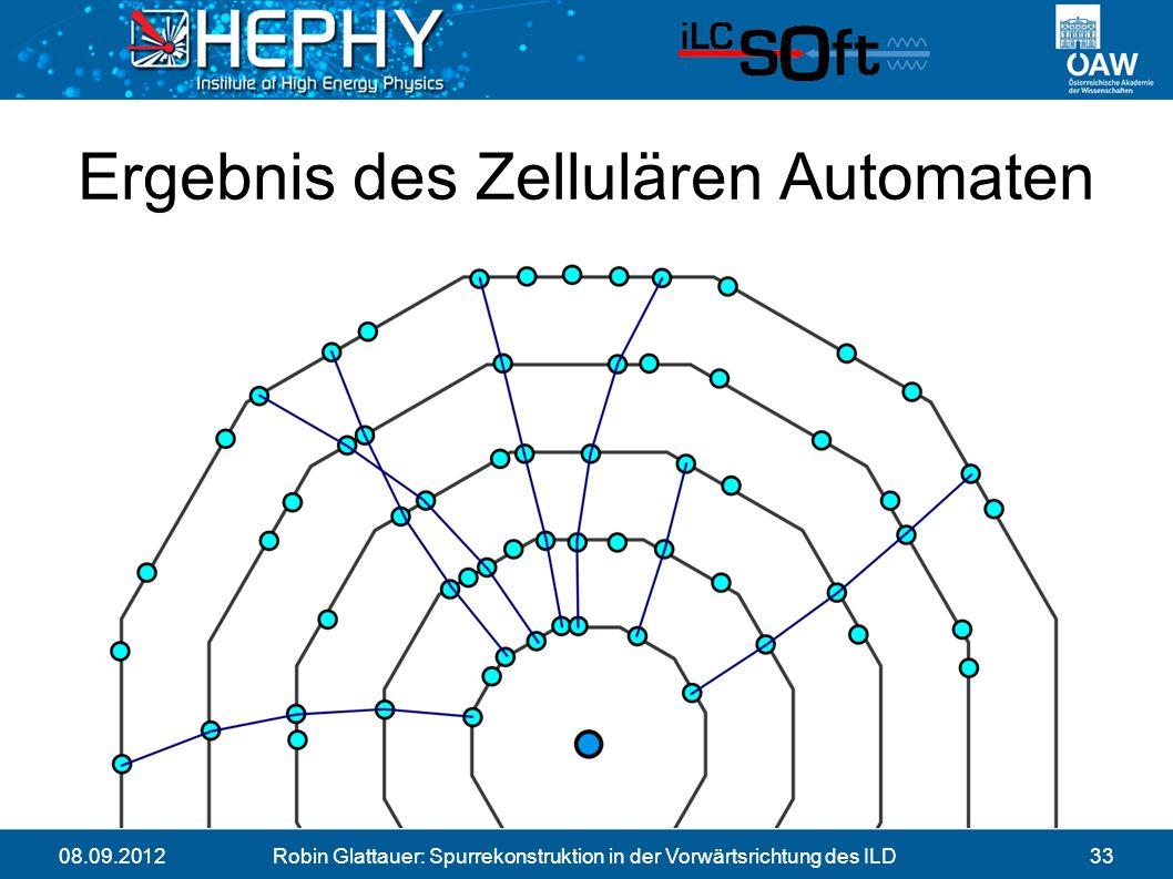 08.09.2012Robin Glattauer: Spurrekonstruktion in der Vorwärtsrichtung des ILD33 Ergebnis des Zellulären Automaten