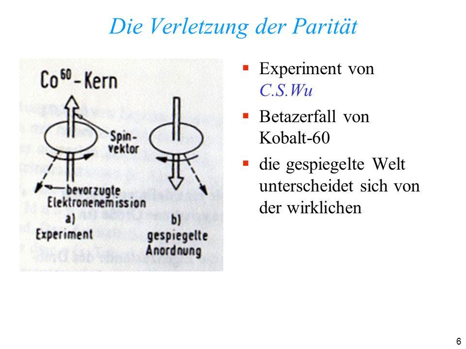 7 CP-Verletzung: das erste Experiment Christenson, Cronin, Fitch und Turlay: Brookhaven 1964 Nobelpreis 1980