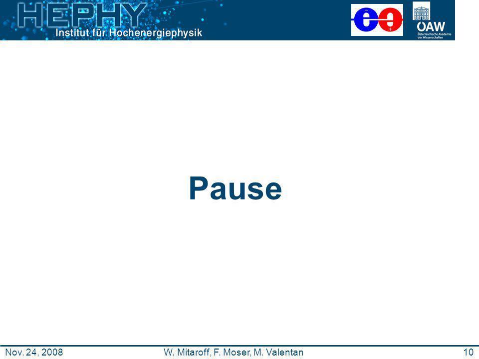 10W. Mitaroff, F. Moser, M. ValentanNov. 24, 2008 Pause