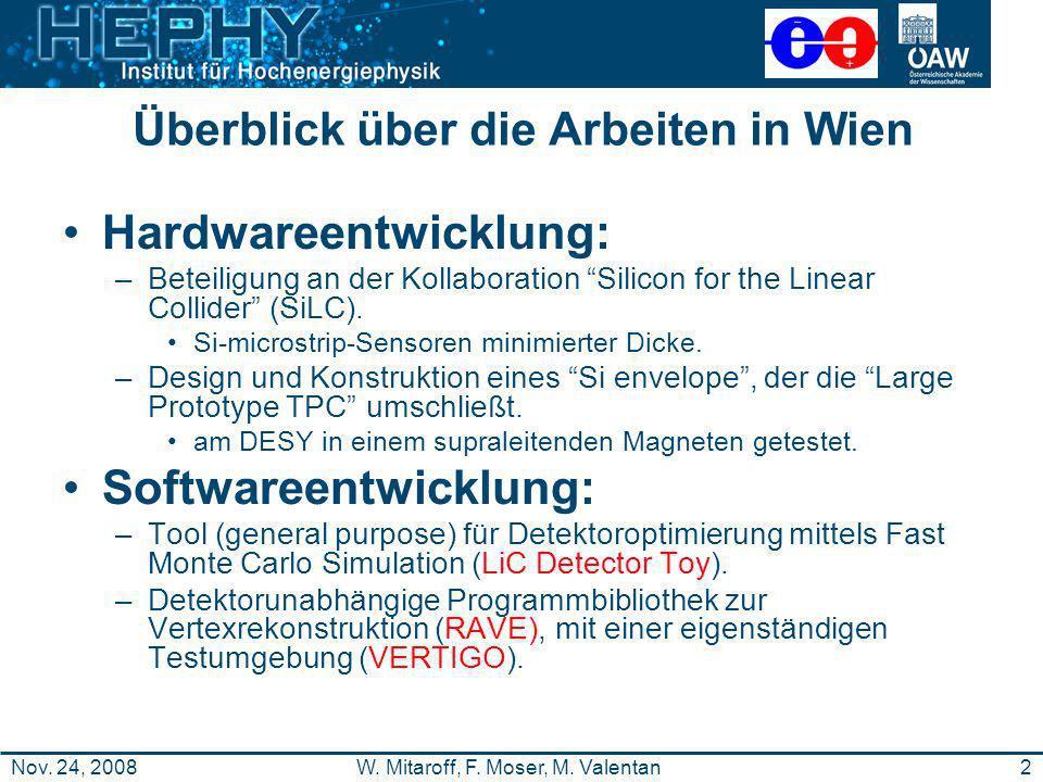 2W. Mitaroff, F. Moser, M. ValentanNov. 24, 2008 Überblick über die Arbeiten in Wien Hardwareentwicklung: –Beteiligung an der Kollaboration Silicon fo