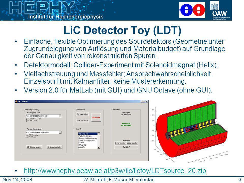 3W. Mitaroff, F. Moser, M. ValentanNov. 24, 2008 LiC Detector Toy (LDT) Einfache, flexible Optimierung des Spurdetektors (Geometrie unter Zugrundelegu