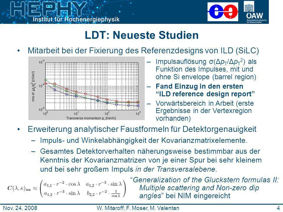 4W. Mitaroff, F. Moser, M. ValentanNov. 24, 2008 LDT: Neueste Studien Mitarbeit bei der Fixierung des Referenzdesigns von ILD (SiLC) Erweiterung analy