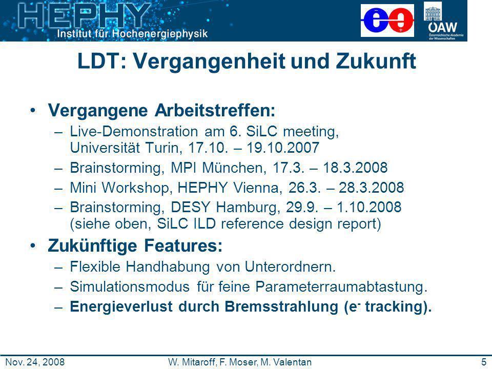 5W. Mitaroff, F. Moser, M. ValentanNov. 24, 2008 LDT: Vergangenheit und Zukunft Vergangene Arbeitstreffen: –Live-Demonstration am 6. SiLC meeting, Uni
