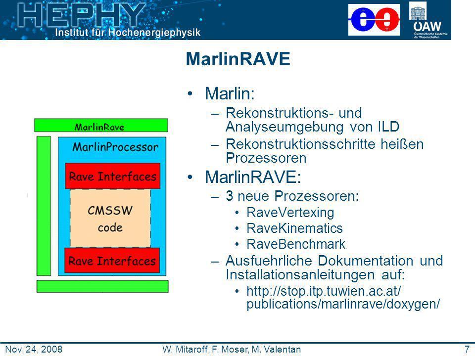 7W. Mitaroff, F. Moser, M. ValentanNov. 24, 2008 MarlinRAVE Marlin: –Rekonstruktions- und Analyseumgebung von ILD –Rekonstruktionsschritte heißen Proz