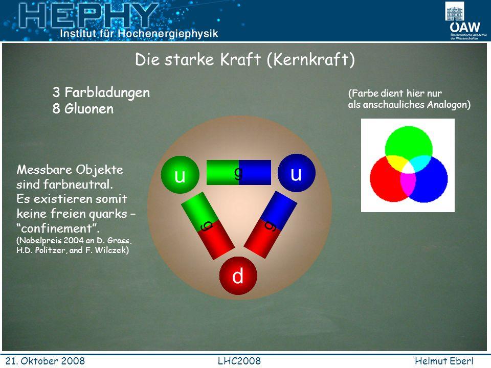 Helmut EberlLHC200821. Oktober 2008 Die starke Kraft (Kernkraft) d u u ggg g ggg 3 Farbladungen 8 Gluonen Messbare Objekte sind farbneutral. Es existi