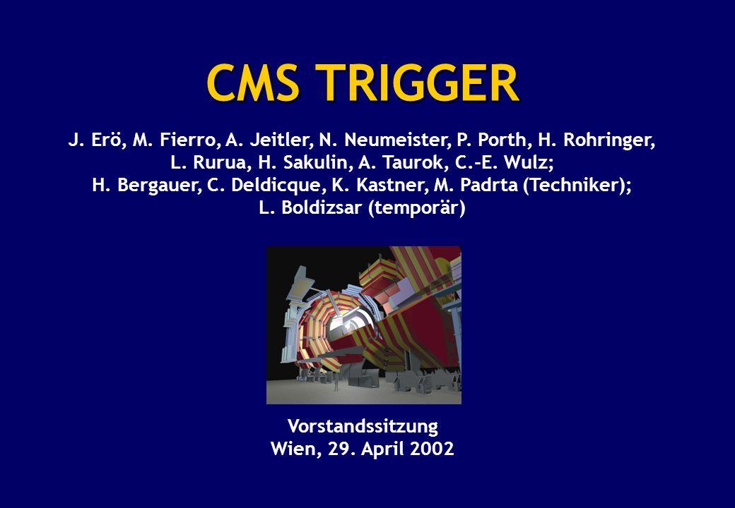 CMS TRIGGER J. Erö, M. Fierro, A. Jeitler, N. Neumeister, P. Porth, H. Rohringer, L. Rurua, H. Sakulin, A. Taurok, C.-E. Wulz; H. Bergauer, C. Deldicq