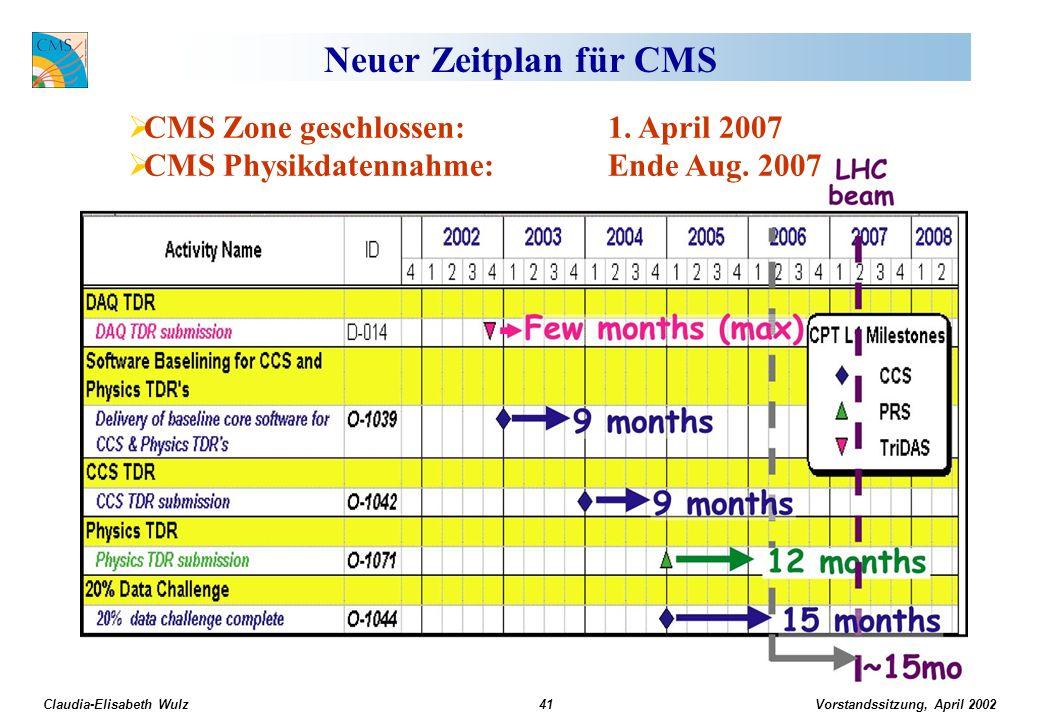 Vorstandssitzung, April 2002 Claudia-Elisabeth Wulz41 Neuer Zeitplan für CMS CMS Zone geschlossen: 1. April 2007 CMS Physikdatennahme:Ende Aug. 2007