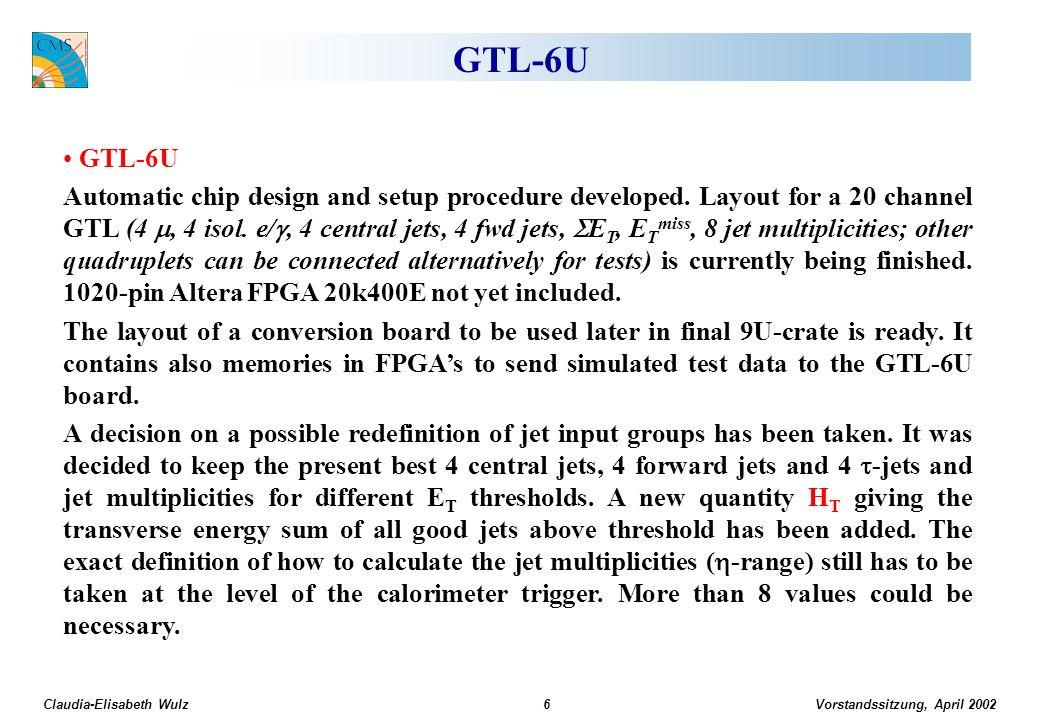 Vorstandssitzung, April 2002 Claudia-Elisabeth Wulz37 Müonimpulsauflösung im TriggerLevel-1Level-2Level-3 Auflösung in 1/p T N.