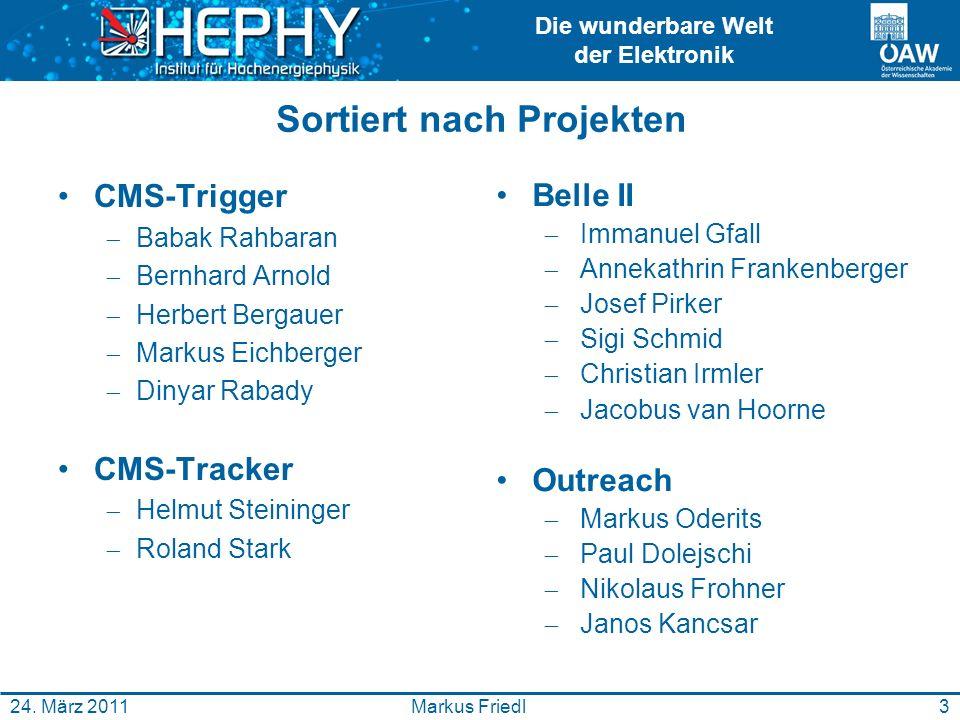 Die wunderbare Welt der Elektronik 3Markus Friedl24. März 2011 Sortiert nach Projekten CMS-Trigger Babak Rahbaran Bernhard Arnold Herbert Bergauer Mar