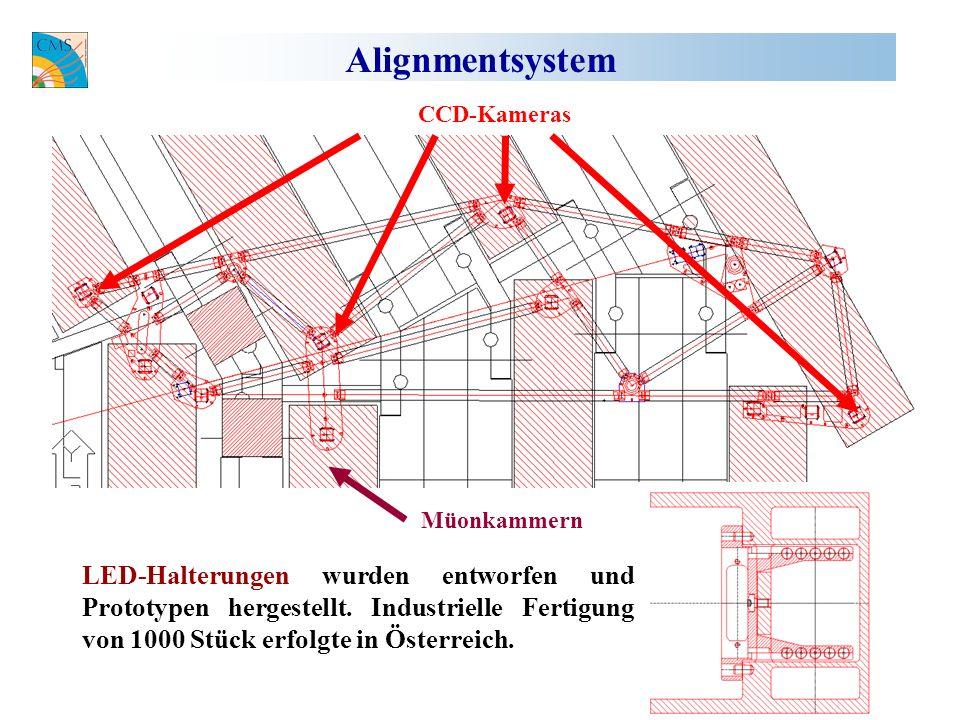Alignmentsystem CCD-Kameras Müonkammern LED-Halterungen wurden entworfen und Prototypen hergestellt.