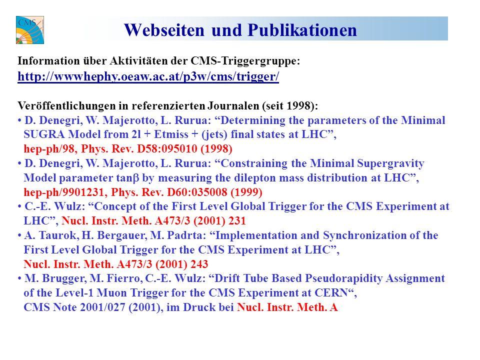 Webseiten und Publikationen Information über Aktivitäten der CMS-Triggergruppe: http://wwwhephy.oeaw.ac.at/p3w/cms/trigger/ Veröffentlichungen in referenzierten Journalen (seit 1998): D.