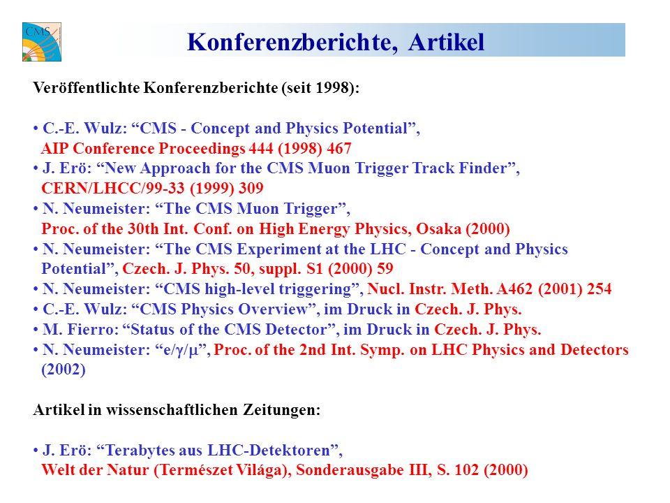 Konferenzberichte, Artikel Veröffentlichte Konferenzberichte (seit 1998): C.-E.